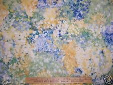 INTERIOR FABRIC WATERCOLOR FLORAL BLUES YELLOWS 3 yds
