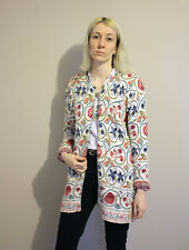 Vintage 'Past Times' Floral Tapestry Cotton Knitted Cardigan - Small 8 10