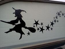 WITCH AND 28 STARS,Stickers.For cars walls windows vans,HALLOWEEN,BIKE BOATS CAR