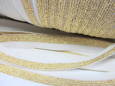 10 yards Metallica Elastic Band 15mm Lace Trim/Trimming/Sewing T193-Gold/White