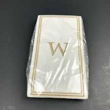 W Letter Disposable Paper Napkins Rectangle Gold Trim Party Dinner Supplies