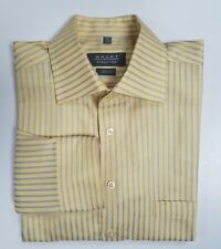Haupt Evolution Men's Long Sleeve Button Down Shirt, Silver & Yellow Stripe M