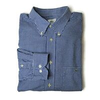 Lacoste Button Down Shirt Mens Sz 44 XL Blue & White Cotton Gingham Long Sleeve