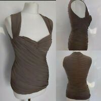 Coast Women's Top Ruched Bustier Stretch Fitted Bodycon Party Evening Brown 10