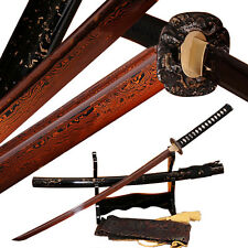 Handmade Red Damascus Steel Japanese Sword Samurai Katana Full Tang Blade Sharp