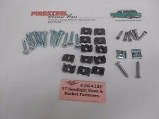 1957 Chevy #20-412C HEADLIGHT BEZEL & BUCKET to BODY Fasteners / Hardware kit