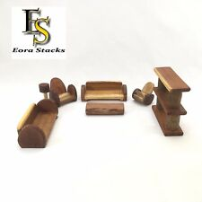 Wooden Furniture Lounge Set 7 Pcs Organic Natural Sustainable Wood  Kid Toys 3+