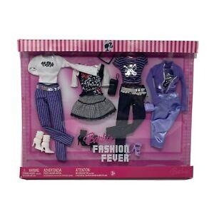 2007 BARBIE FASHION FEVER 4 Outfit Pack Purple And Black Plaid Rocker Ensembles