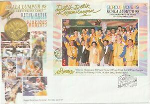 1998 Malaysia oversize FDC cover XVI Commonwealth Games Glorius Moments