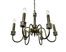 Romantic Chandelier Pendant 6 arm Lights Brass Porcelain Flowers Mid Century