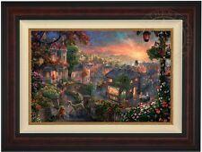 "Thomas Kinkade Lady and the Tramp 18"" x 27"" LE Canvas G/P (Burl Frame) Disney"