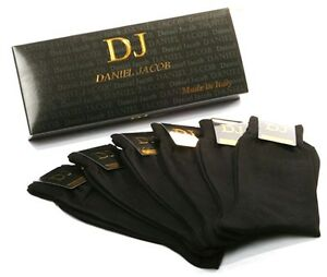 Pack of 6 Pair Men's Black Mid-Calf Socks 100%Cotton in Gift Box Made in Italy