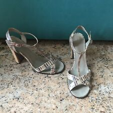 Gucci Sandals high heels wood  Python snake skin sandal size 8