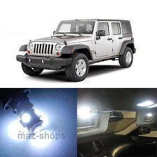 9Pcs LED  Lights Interior Dome Map Package Kit For Jeep Wrangler 2007-2017 White