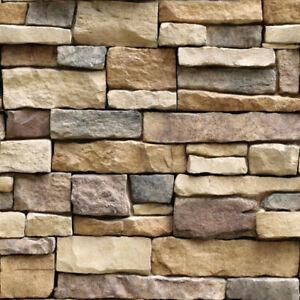 10m 3D Grey Rustic Brick Stone Wallpaper Stickers Vinyl Self Adhesive Wall Cover