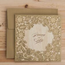 Wishmade 50x Gold Square Laser Cut Wedding Invitation Cards Kits with ... NO TAX
