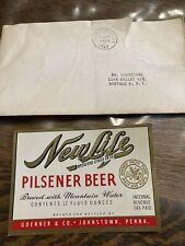New listing 1949 Beer Label Goenner's Pilsener 12 Oz Lancaster Pa Irtp
