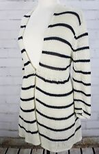 WOODEN SHIPS Striped Cardigan Sweater V-Neck Hooded Womens M/L Anthropologie