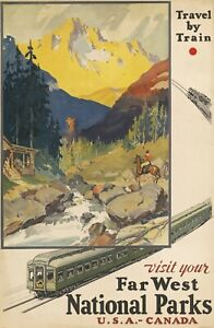 Vintage Travel Poster Visit your Far West National Parks USA - Canada