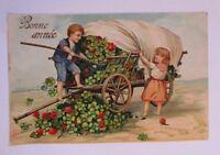 """""""Neujahr, Kinder, Kleeblatt, Planwagen"""" 1908, Prägekarte ♥  (39781)"""