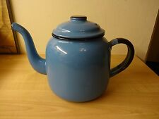 Vintage 1950s Retro Kitsch BLUE Enamel Kettle Tea Pot Display Prop Kitchenalia