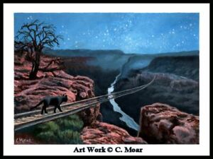 Black Cat Train Tracks Grand Canyon Surreal Original Art Painting OOAK