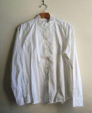 GAP Women's 100% Cotton Ruffle-Placket Shirt, White, Solid, Size L, NWT
