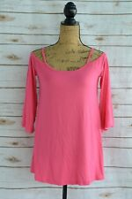 NWT Mittoshop GREEN LABEL - Pink cold shoulder slouchy BAMBOO 3/4 sleeve tee, S
