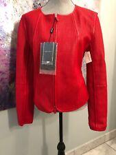 Retail $4,095!! GIORGIO ARMANI 48 Red Scarlet Leather Black Label Jacket Coat