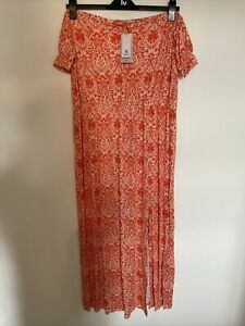BNWT Sainsbury's Tu Women Size 22 Bardot Summer Maxi Dress Orange Split Pattern