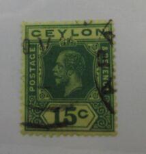 1925 Ceylon SC #236a KGV   15 cent used stamp