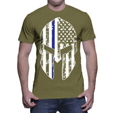 Thin Blue Line Spartan Mask American Flag-Cops Police Lives Matter Mens T-Shirt