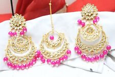 Indian Bollywood Partywear Pearl Kundan Pink Maang Tikka Earrings Fashion Jewelr