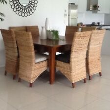 Square timber dinning table, 8 high back rattan chairs