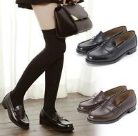Womens School Student Uniform Soft Leather Flats Low Heel Shoes Cosplay Loafers