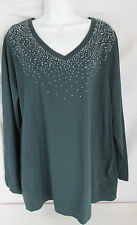 Catherines Plus Size Green V-neck T Shirt Silver Stud Neckline Size 1X 18/20W