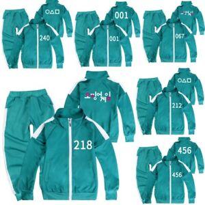 SQUID GAME Kids Boys Girls Tracksuit Coat Tops+Trousers Tops Pants Sportwear UK