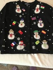 Northern Isles Sweater Christmas Snowmen Flags Large