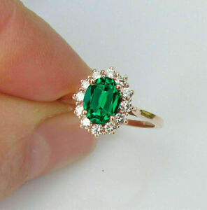 2.0Ct Oval Cut Green Emerald & Diamond Halo Engagement Ring 14K Rose Gold Finish