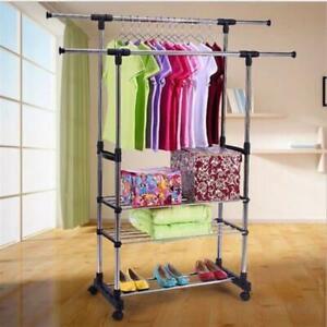 Adjustable Rolling Garment Rack Heavy Duty Clothes Hanger Rail Shoe Rack