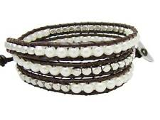3 Wrap Bracelet 4mm glass pearl beads metal beads Real leather  fashion bracelet