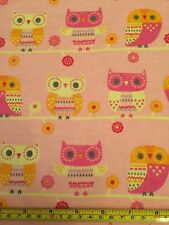 SNUGGLE FLANNEL OWLS Pink Yellow Orange Owl 100% Cotton Fabric BTY