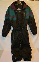 Vintage Inside Edge 1 piece Ski Suit 80's Size XS One Piece Teal Purple Black