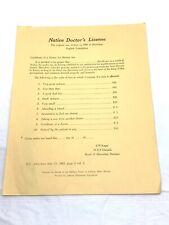 Vintage Native Doctor's License English Translation Page 2 Col 3