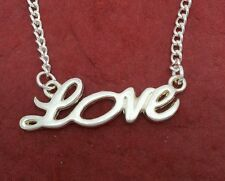 Love Necklace Charm Pendant n silver plated chain Show you love for lovers word