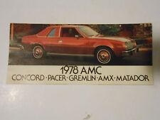 1978 AMERICAN MOTORS,AMC COLOR FULL LINEUP BROCHURE,PACER,AMX,GREMLIN X,MATADOR