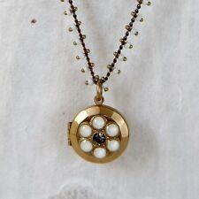 NWT La Vie Parisienne Gold White Enameled Locket Pendant Beaded Chain 1588G
