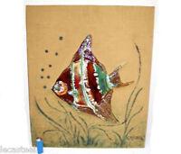 """poisson céramique sur panneau design signé """" rigaux """" kitch"""