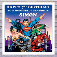 KIDS BIRTHDAY CARDS | SUPERHEROES | PERSONALISED AGE RELATIONSHIP NAME