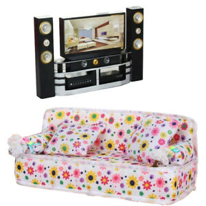 Living Room Sofa Furniture + Hi-Fi TV Theater for Barbie Doll House Living Room